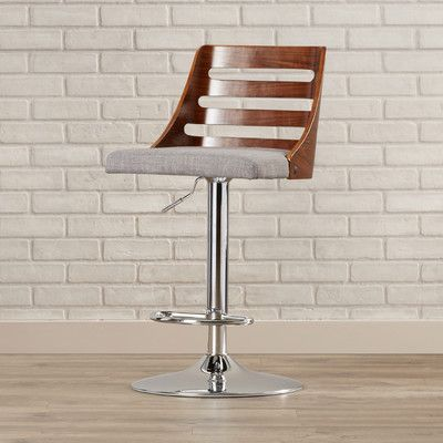 Brayden Studio Testerman Adjustable Height Swivel Bar Stool Upholstery: Light Gray