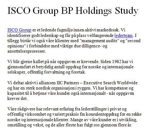 ISCO Group BP Holdings Study