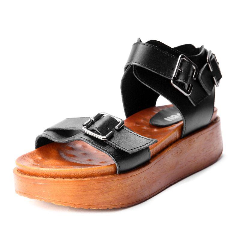 Black PU Buckle Strap Flat 50mm Sandals