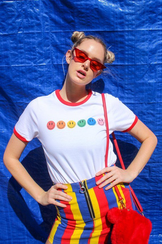SMILEY FACE RINGER T Shirt Womens Ladies Tee Hipster Grunge Skate Punk Kawaii Cute Rainbow Fashion Vintage 90s