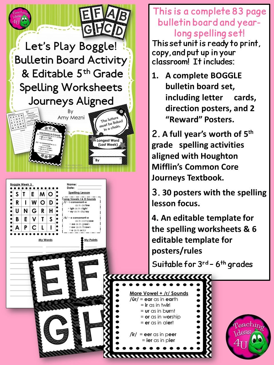 worksheet Ee Spelling Worksheets boggle bulletin board activities a set of spelling worksheets and posters for the year