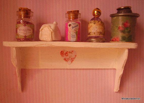 Decorated shelf by Miniaturasdemon on Etsy, $6.50