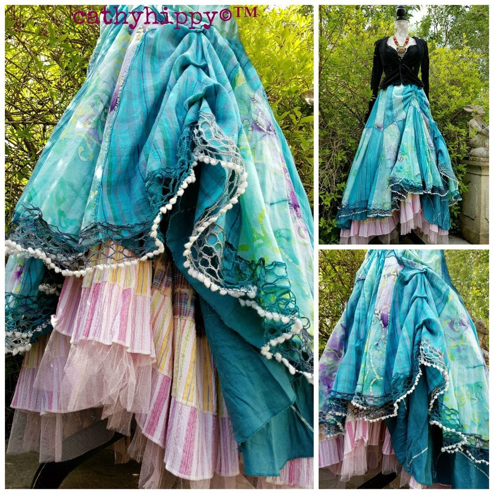 QUIRKY PATCHWORK HITCH BUSTLE SKIRT FREESIZE 6-18 STEAMPUNK LAGENLOOK GYPSY ARTY in Clothes, Shoes & Accessories, Women's Clothing, Skirts | eBay!