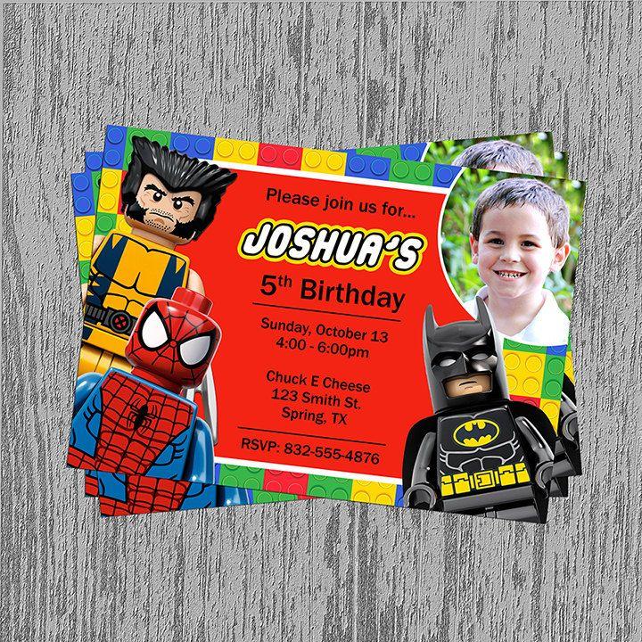 Lego Superheroes Birthday Invitation By LastingMomentsDesign 1099