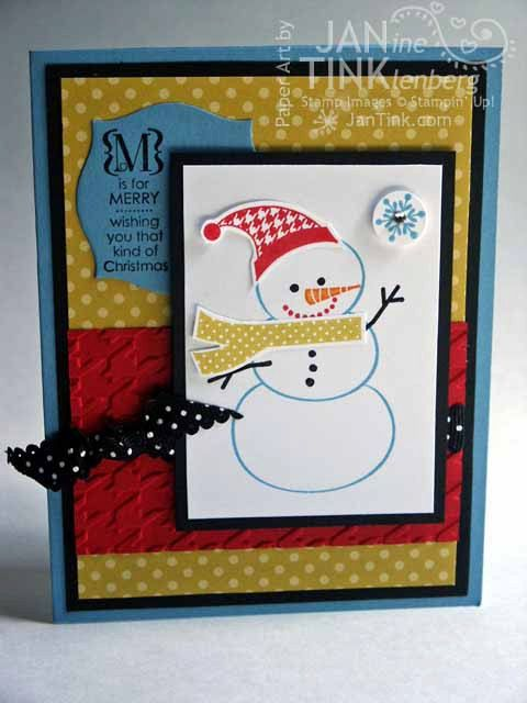 M is for Merry Christmas Snowman Greeting Card Handmade in Blue