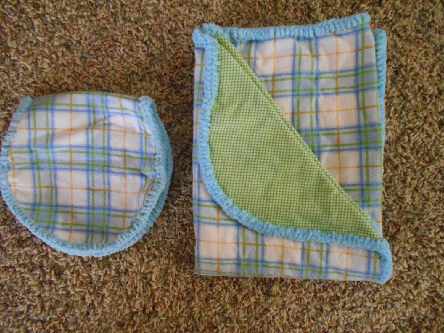 9964e74964a Hem Stitch Unisex Baby - Blue and Green Plaid Flannel Receiving Blanket and  Burp Cloth by TheRedGeranium on Etsy