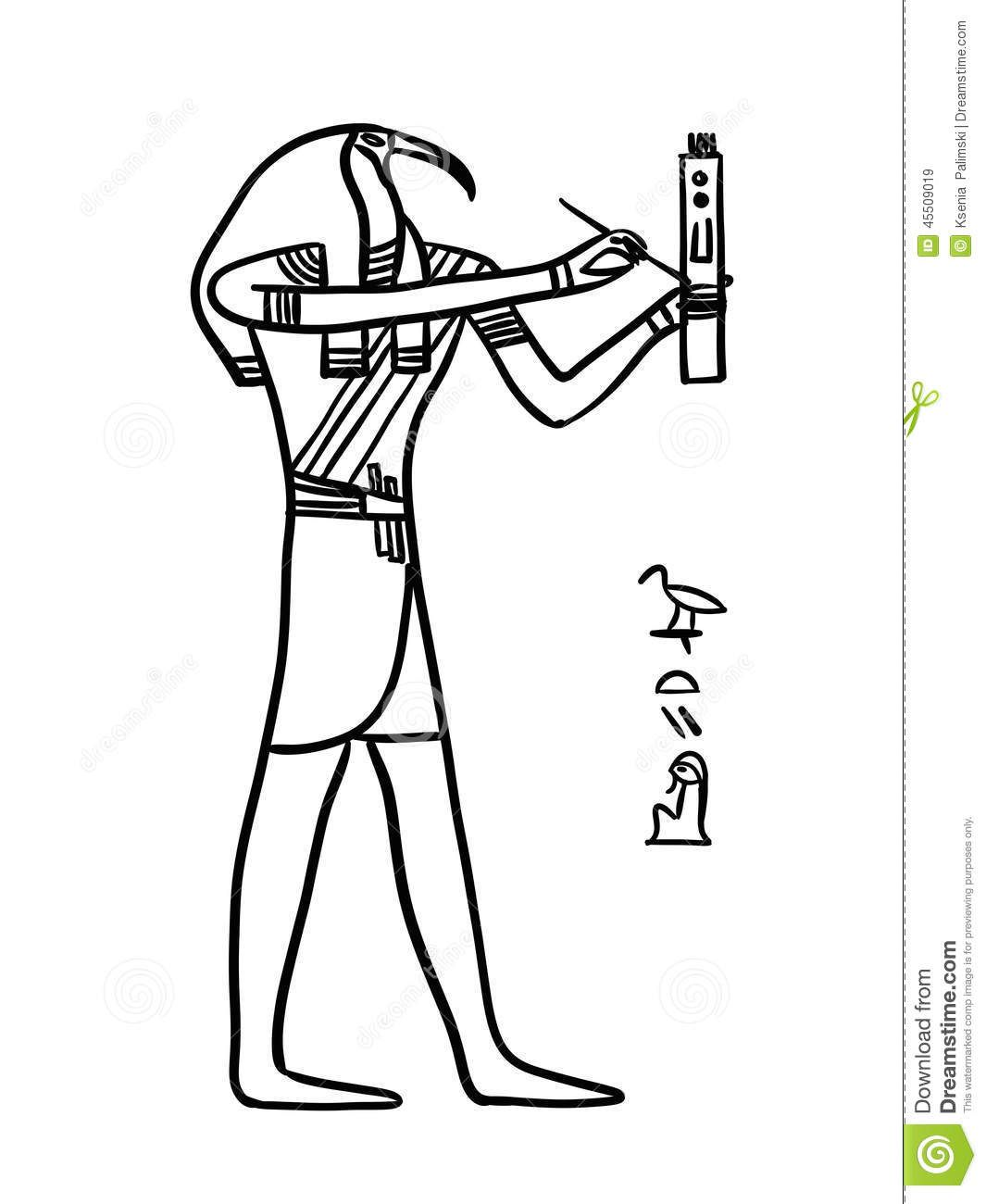 Thoth egyptian god illustration isolated black line white man head thoth egyptian god illustration isolated black line on white a man with the head of an ibis or a baboon biocorpaavc Gallery