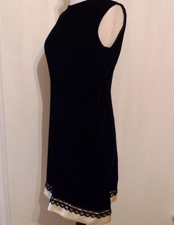 Mod Velveteen Vintage Black Dress / Cocktail LBD by BibbysRocket, $44.00