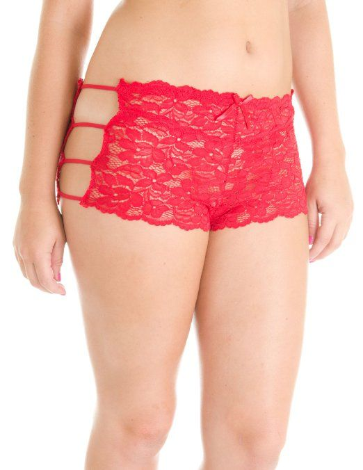 0bd7965108954 Amazon.com  Cotton Cantina Womens Plus Size 2 Pack Full Lace Boyshort  Panties with String Sides  Clothing