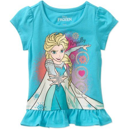 0739c68150b Disney Frozen Toddler Girls  Royally Cool Rufflle Hem Short Sleeve Tee  Shirt - Walmart.com
