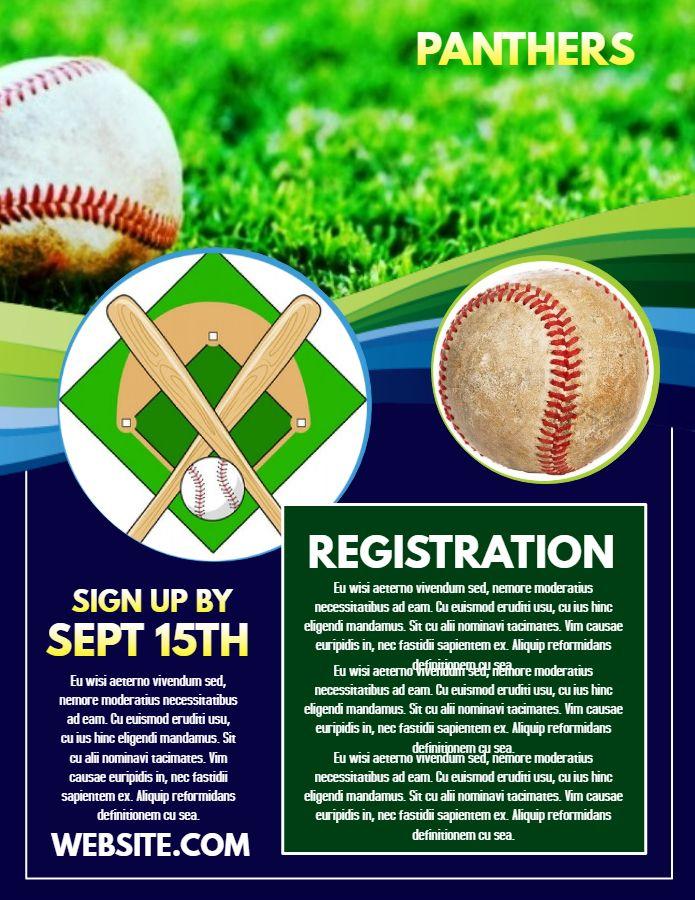 Baseball Registration Poster Flyer Design Template Flyer Design