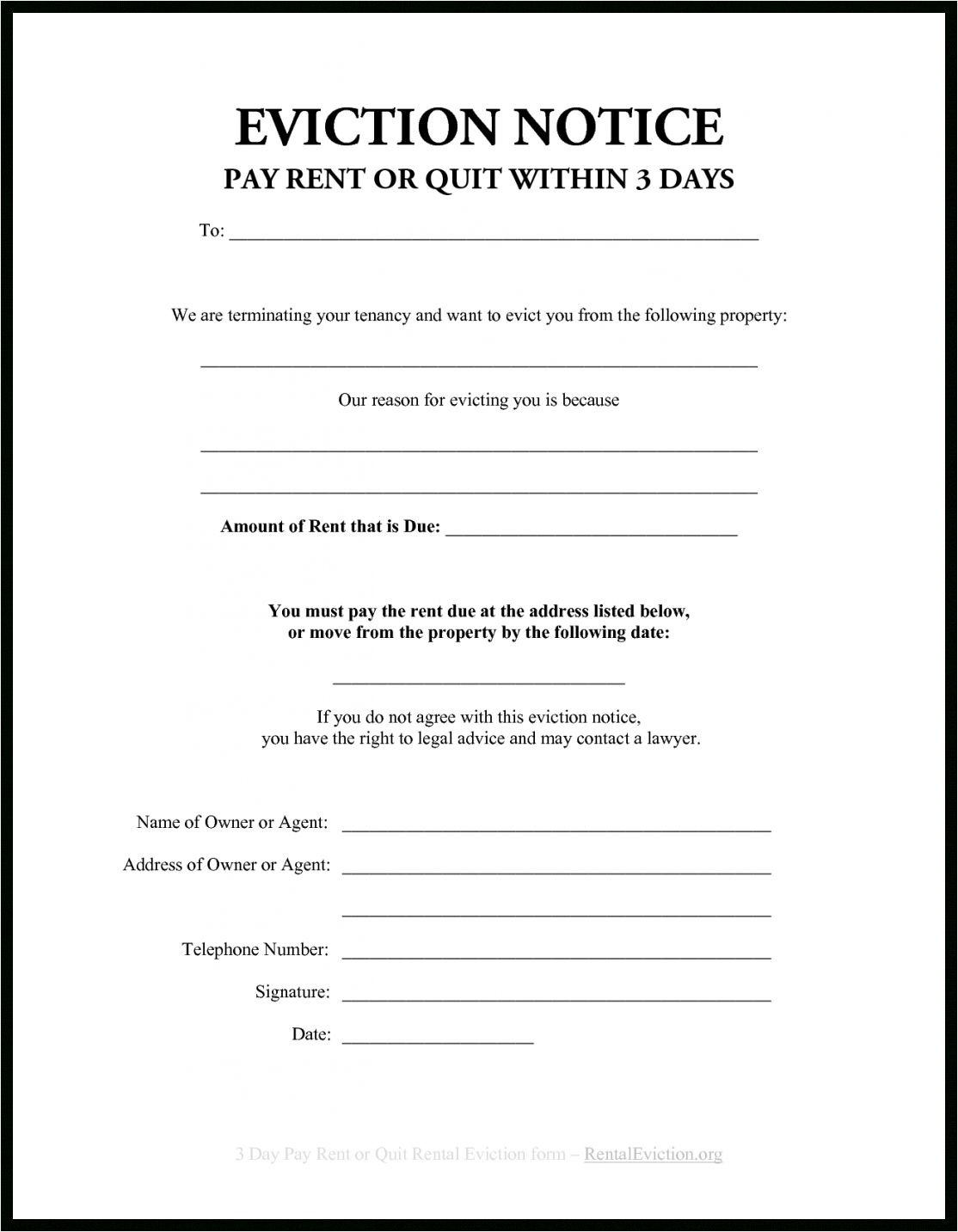 Browse Our Image Of 30 Day Eviction Letter Template Eviction Notice 30 Day Eviction Notice Letter Templates Free Notice to quit form pa