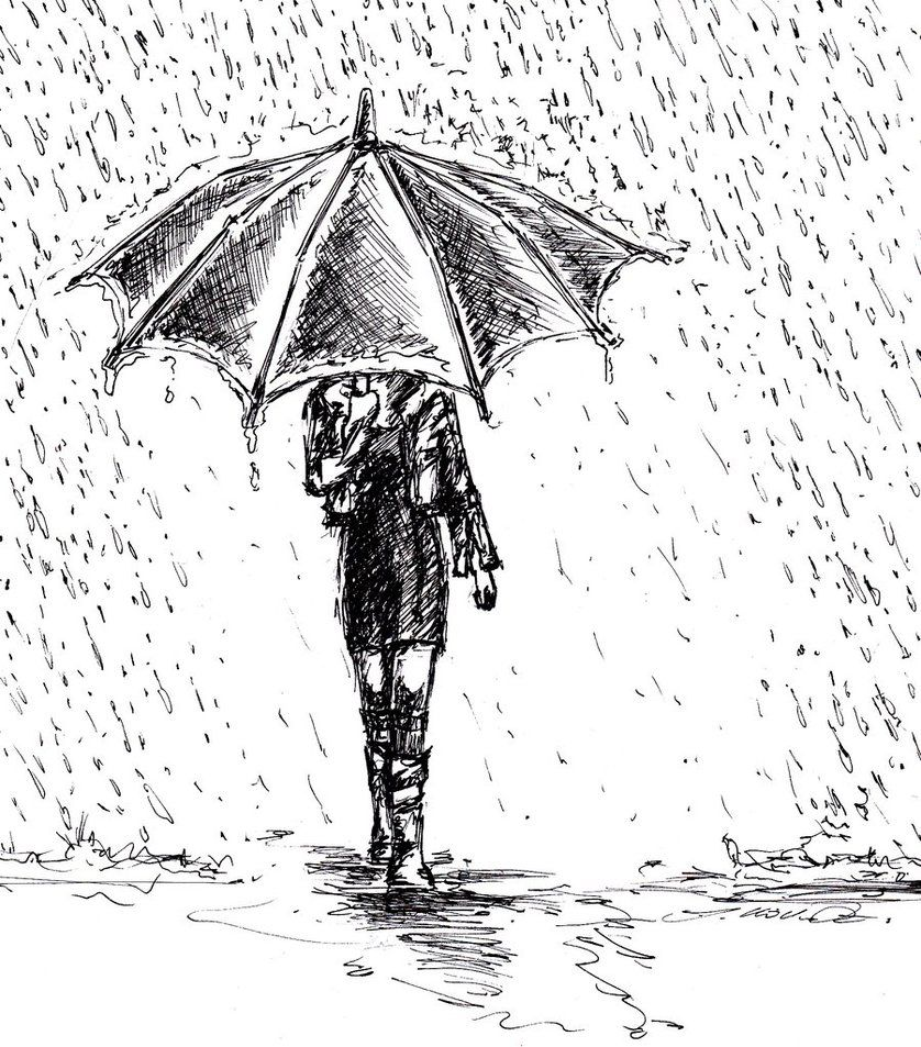 Girl in rain drawing