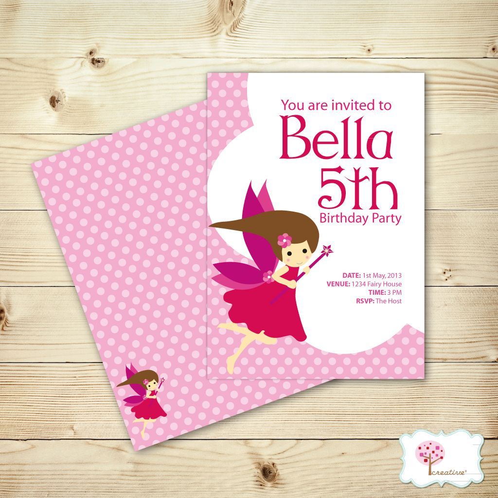 Lovely Pink Fairy Birthday Invitations! http://creativesquare.com.au ...
