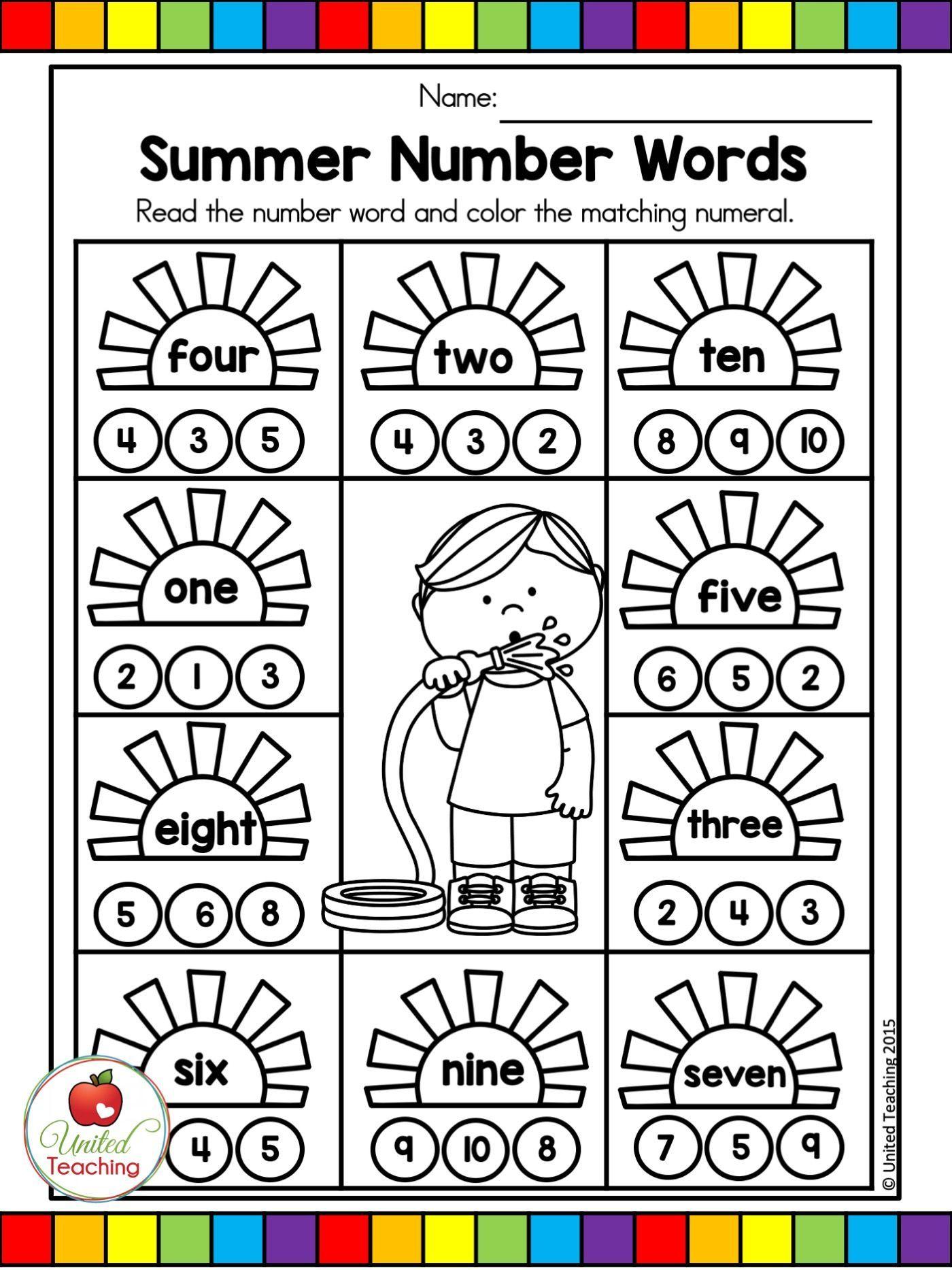 Summer Math And Literacy Worksheets Kindergarten Bundle
