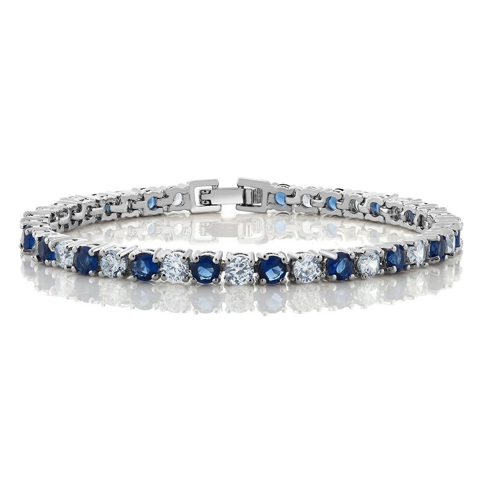 ct round cut blue simulated sapphire and zirconia tennis