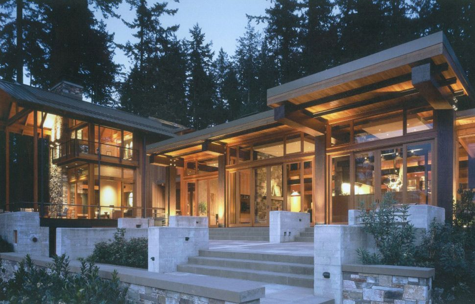 Beautiful House Of Wood Stone And Steel On Bainbridge Island House In The Woods Island House Wooden House Design