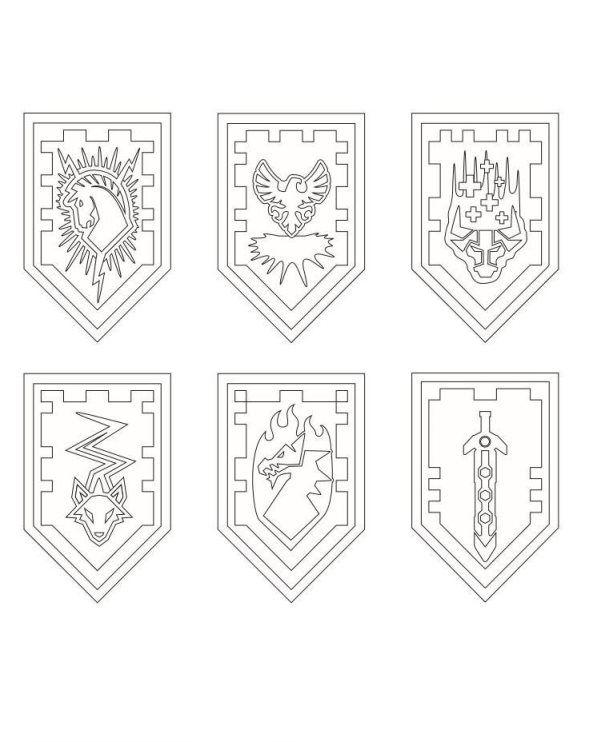 Nexo LEGO Knights Shields Coloring Page Projekty na vyzkouen