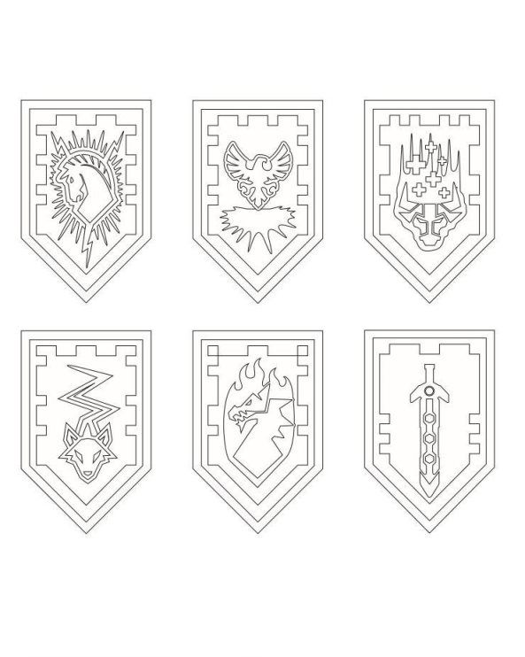 Nexo Lego Knights Shields Coloring Page Lego Coloring Pages