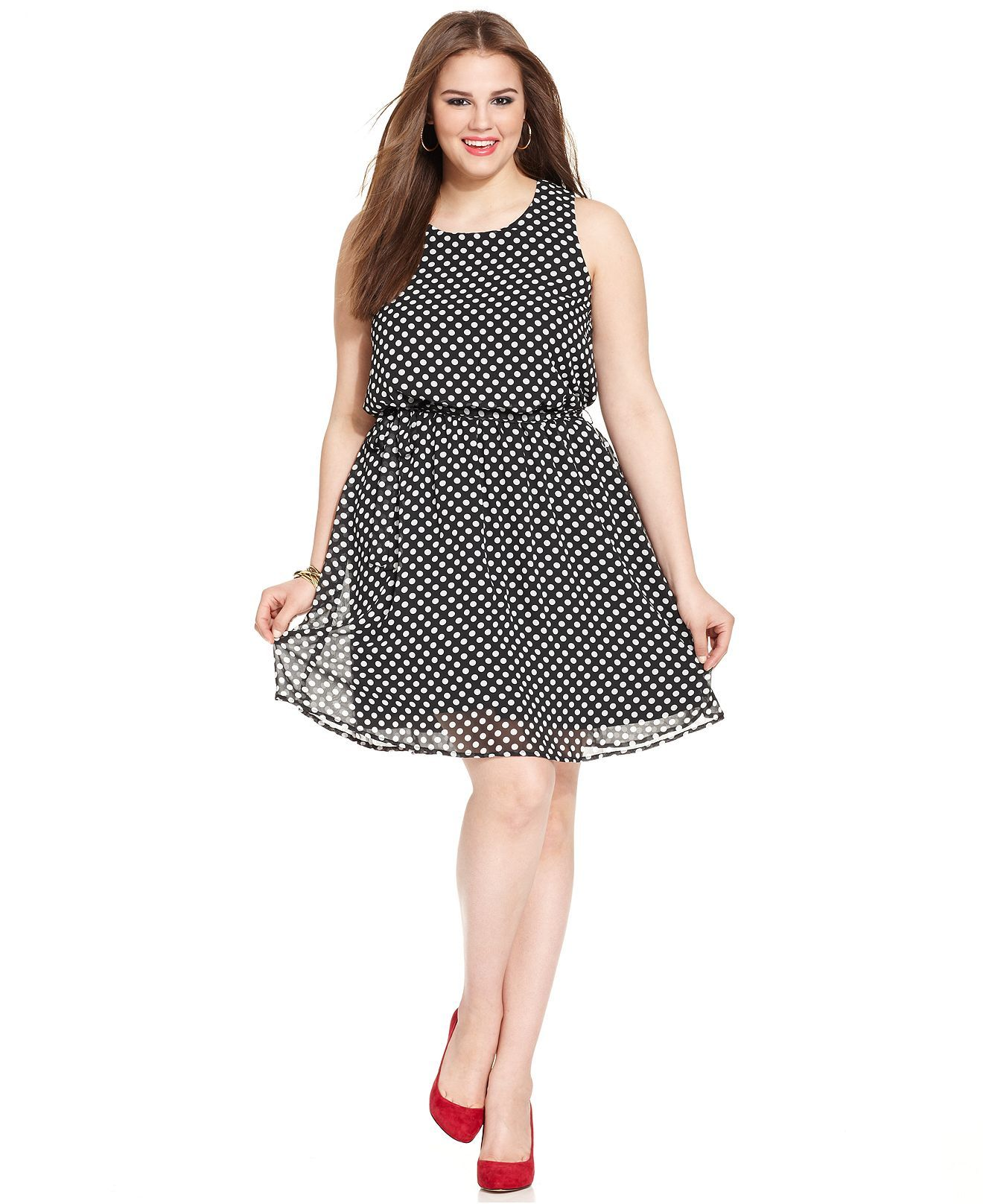 Love Squared Plus Size Sleeveless Polka-Dot Dress - Junior Plus ...
