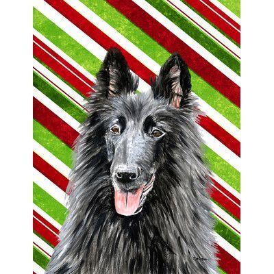 Caroline's Treasures Belgian Sheepdog Candy Cane Holiday Christmas House Vertical Flag