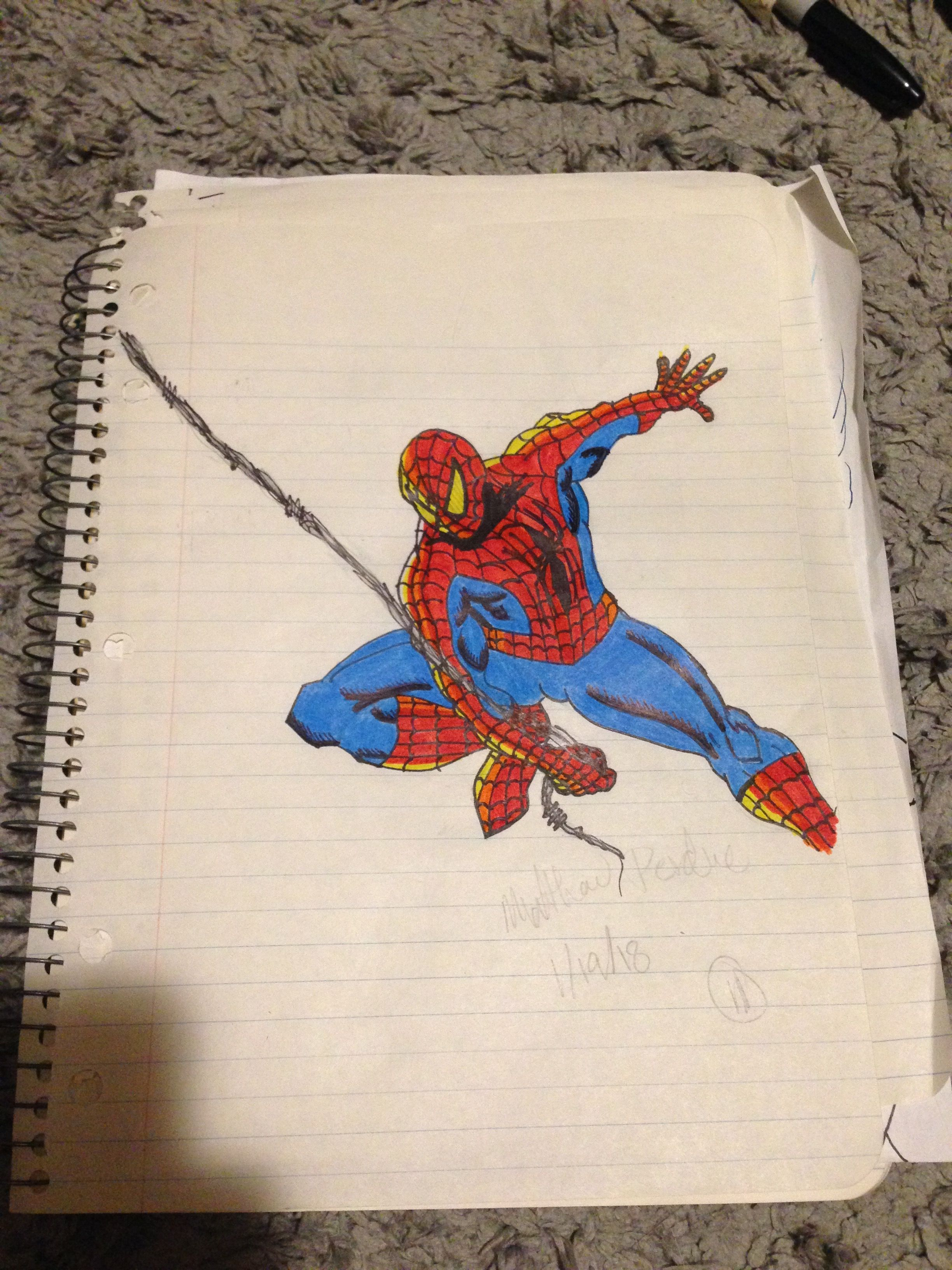 One of my early spider man drawings when i didnt know how muscles were supposed to look 1 19 18