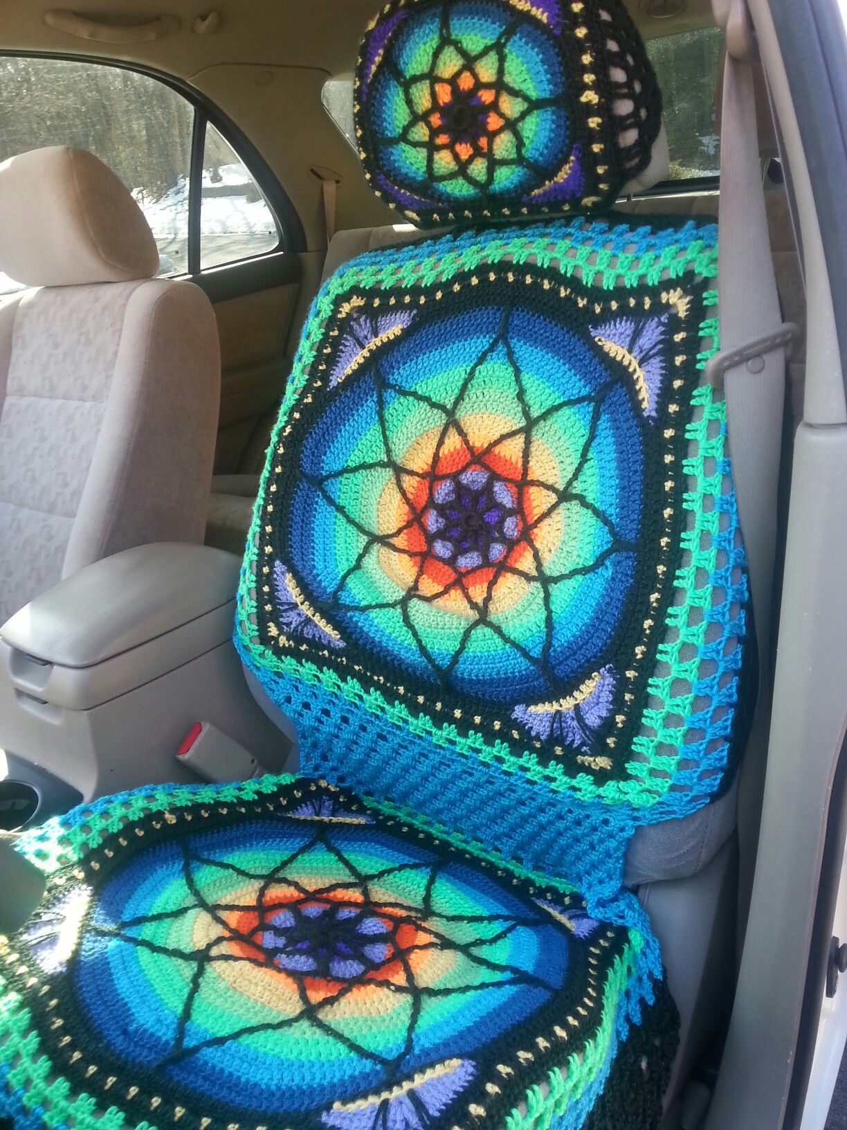 My Hippie car seat cover! This one fits a KIA Sorrento. If ...