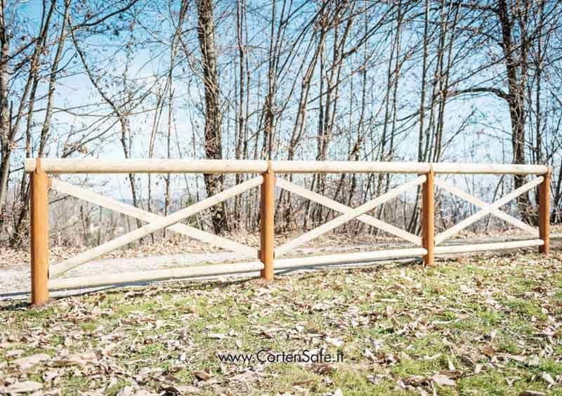 Staccionata cadore in corten e legno staccionate per - Staccionate in legno per giardini ...