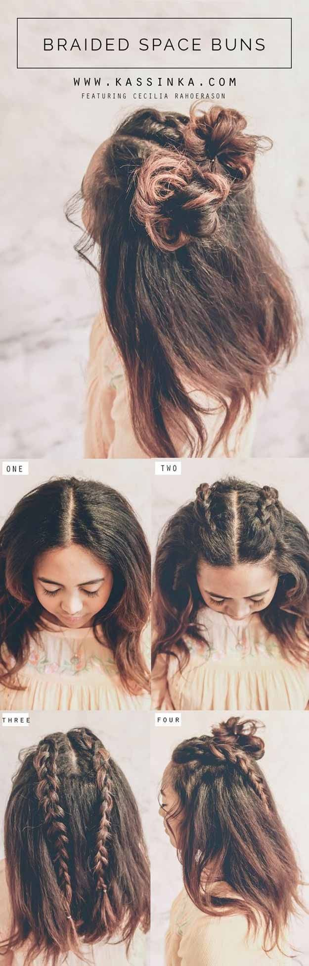 Best Pinterest Hair Tutorials Braided Space Buns Step By Step Tutorial From Pint Braids For Medium Length Hair Medium Hair Styles Medium Length Hair Styles