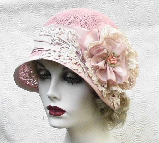 cloche hat in shabby chic pink cloche hats shabby chic. Black Bedroom Furniture Sets. Home Design Ideas