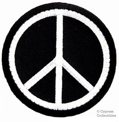 Yin and Yang Peace Sign Symbol Love Heart Patch Iron On Sew On Embroidered Badge