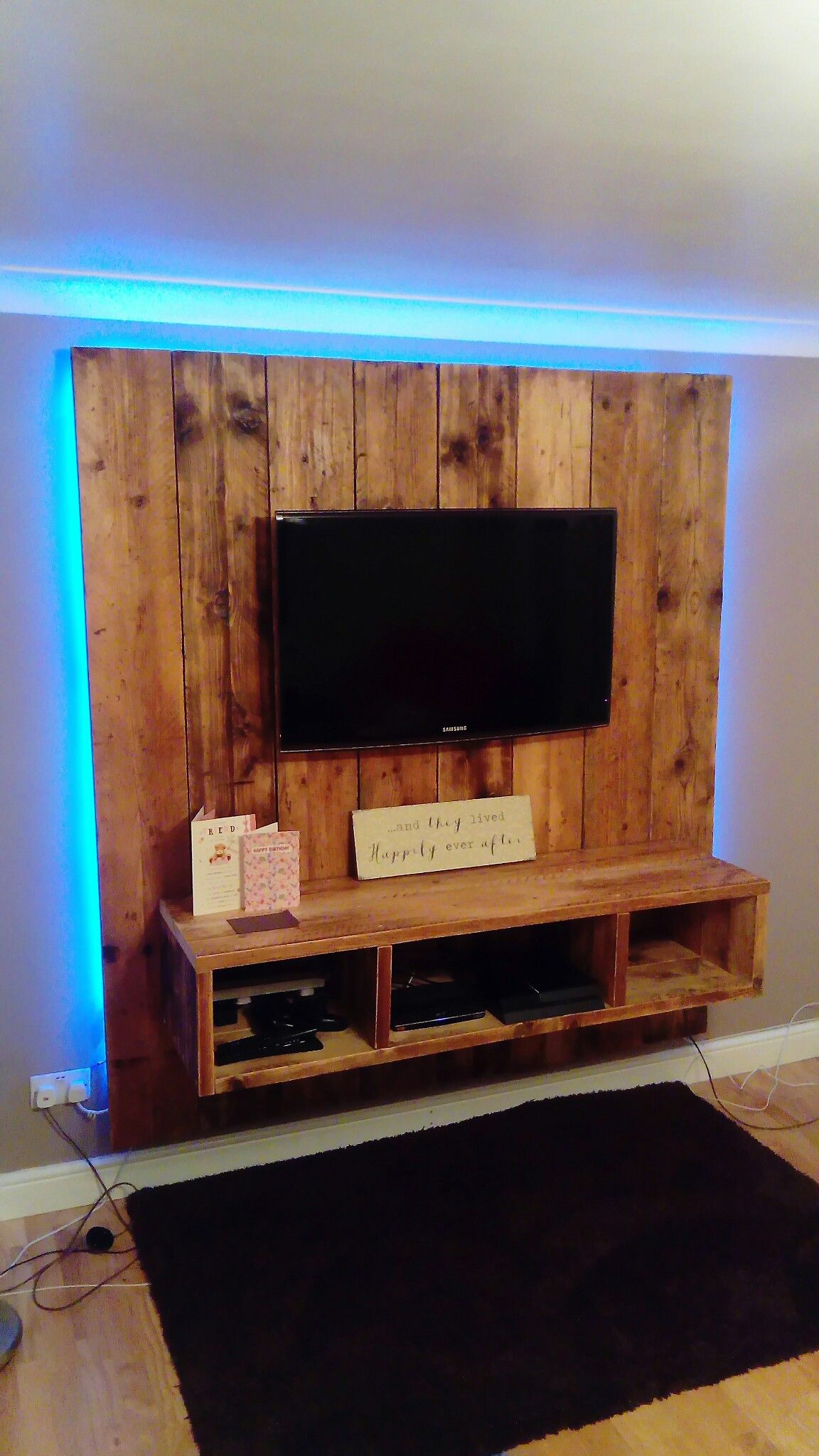 Home Crafted Scaffold Board Tv Wall Design Tv Wall Design Cool House Designs Bedroom Tv Wall
