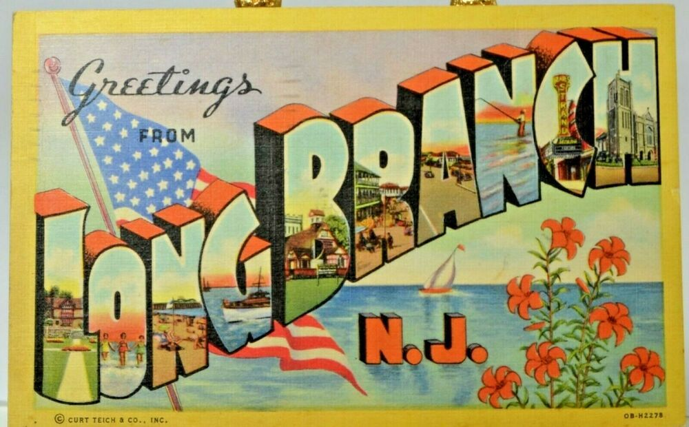 Details About Long Branch Nj New Jersey Linen Greetings Posted 1953 Vintage Curteich Postcard Postcard Long Branch Vintage Postcards