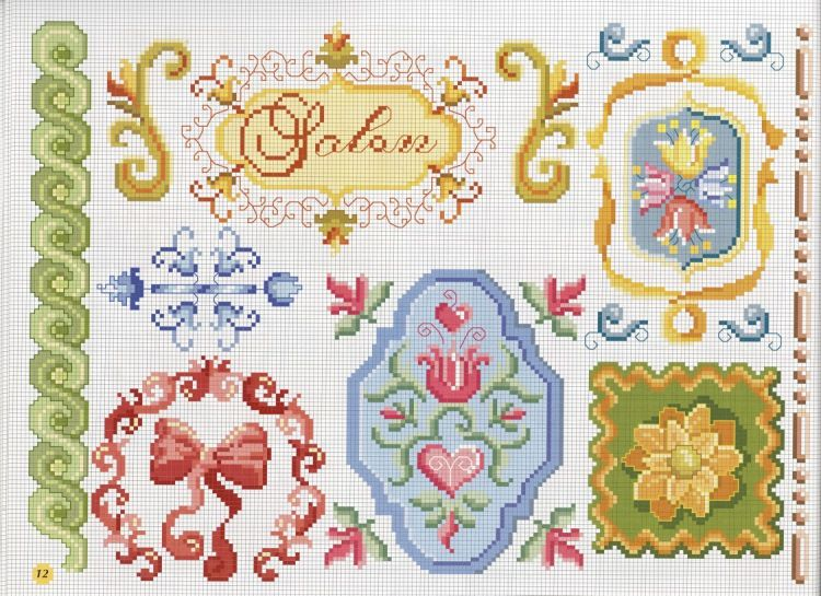 Nice miniature ornamental pattern / chart for cross stitch, crochet, knitting, knotting, beading, weaving, pixel art, micro macrame, and other crafting projects.
