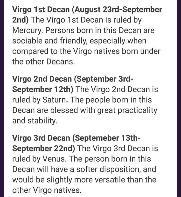 Virgo Decan Compatibility
