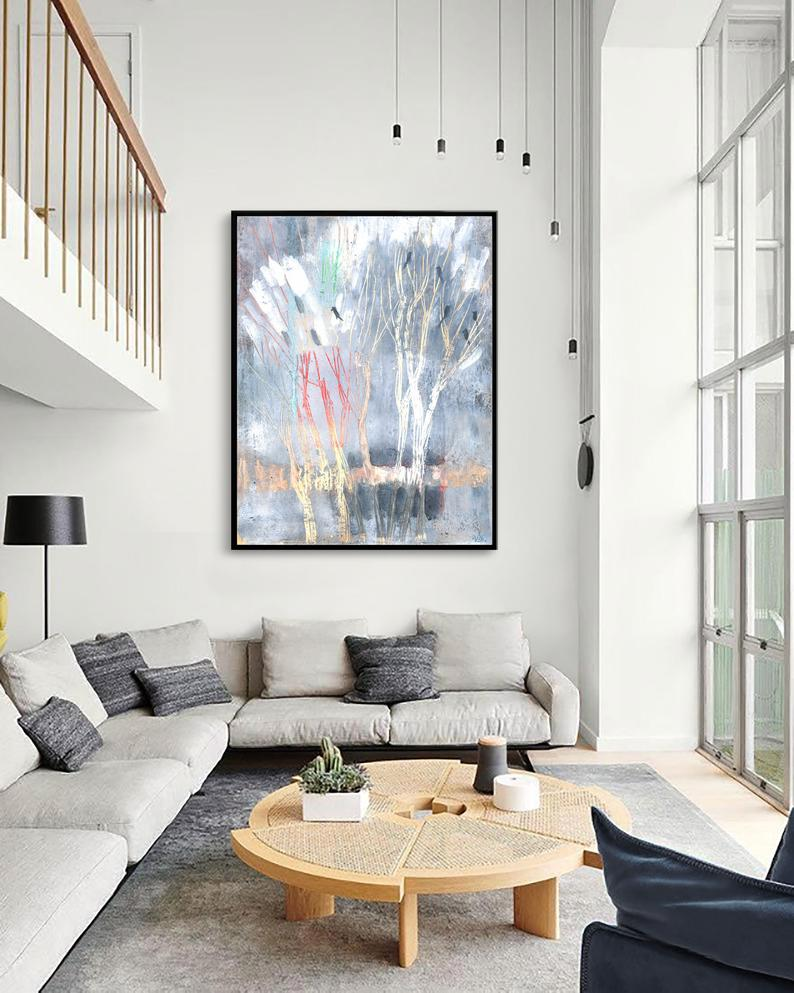 Gray Abstract Picture Early Spring Art Living Room Decor Etsy In 2020 Large Abstract Painting Oversized Wall Art Large Abstract
