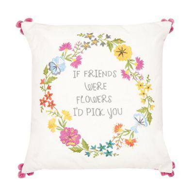 Ashley Thomas at Home Pink flowers & slogan cushion- | Debenhams ...