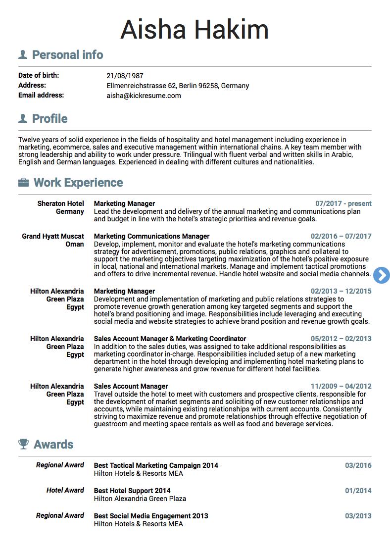 Sheraton Marketing Manager Resume Example Marketing