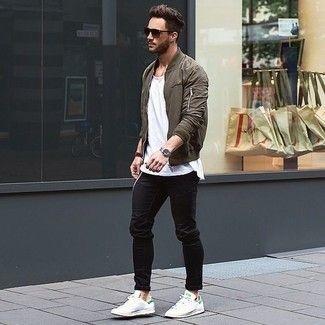 Men S Olive Bomber Jacket White Crew Neck T Shirt Black Jeans