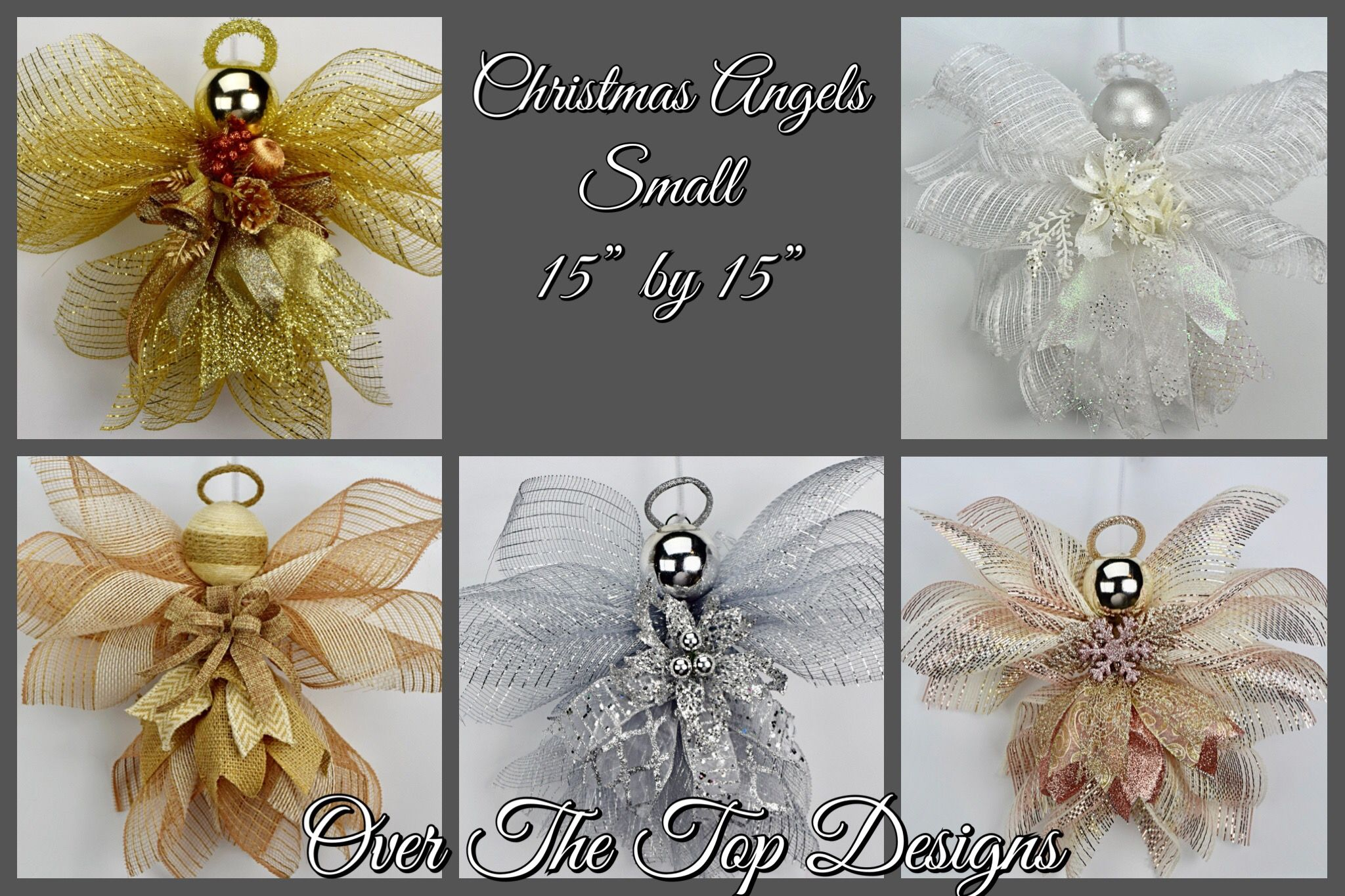 Small Christmas Angels In Silver, Burlap, Gold, White, And Rose