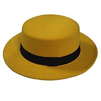 f0ea542b88be11 NE Norboe Women's Brim Fedora Wool Flat Top Hat Church Derby Bowknot Cap  (Yellow) at Amazon Women's Clothing store:
