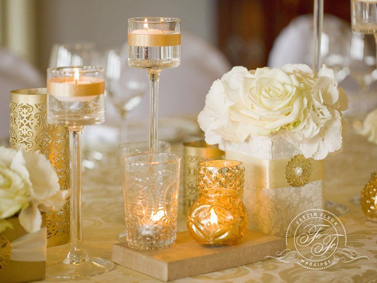 Luxury small flower centerpieces with decorated candle