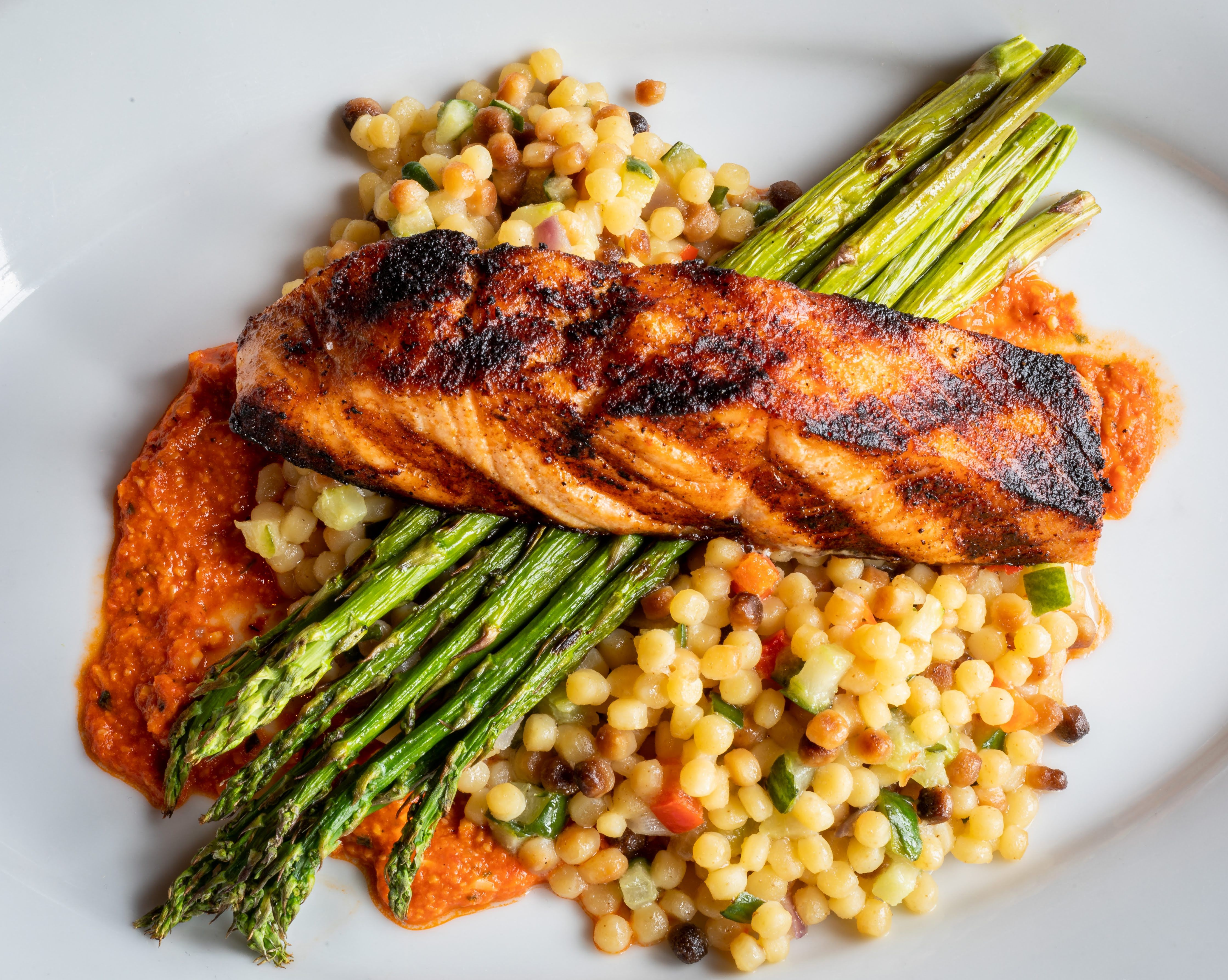Organic Salmon with Pearl Pasta and Red Pepper Pesto ...