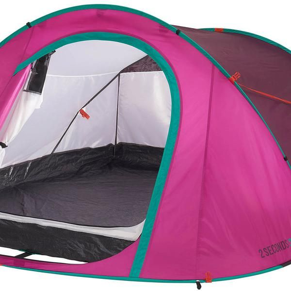 Quechua 2 Seconds Pop Up Family Tent 3 Man Pink Outdoor Garden C&ing Canopy & Tente de camping 2 seconds easy 3 personnes rose et vert | Camping ...