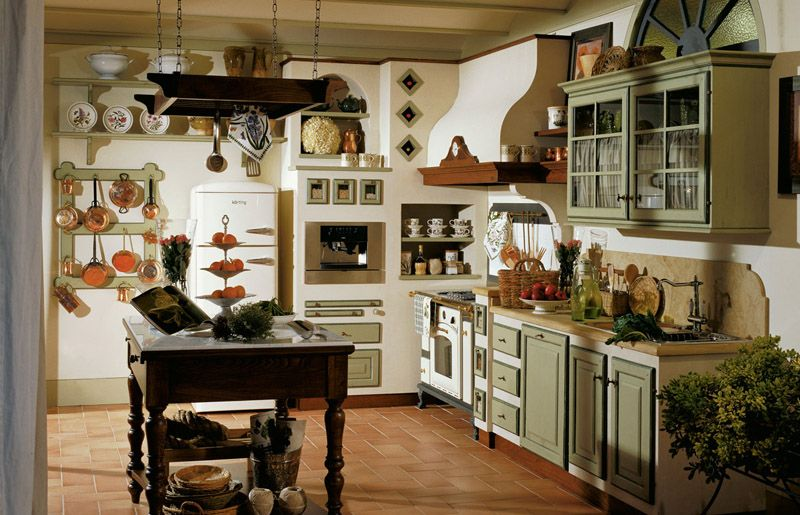 Old England Cucina country chic over hanging pot rack | Dream home ...