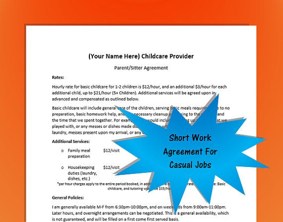Babysitter Work Agreement Template by NannyLikeAPro on Etsy Short