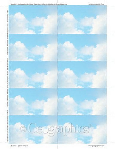 Clouds Business Cards 2x3 5 250 Pk 24 Pks Case Business Stationery Custom Business Cards Business Card Template Design