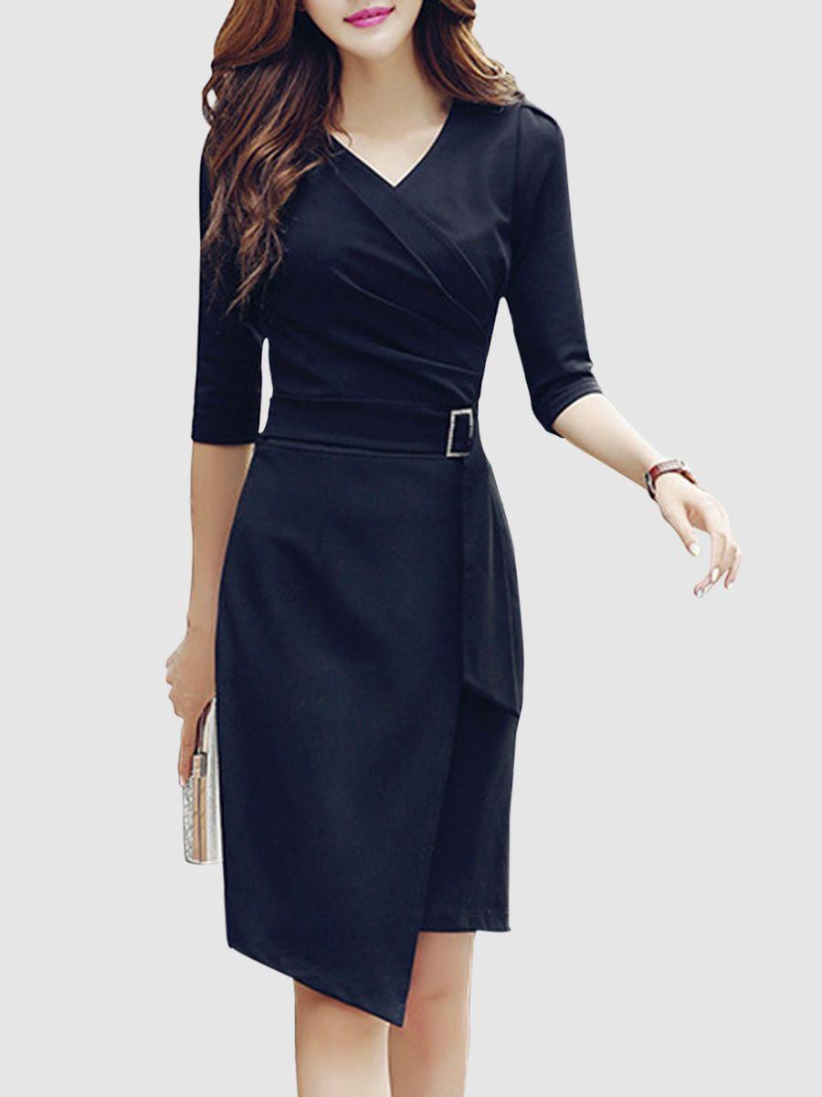 v-neck asymmetric hem plain bodycon dress in black