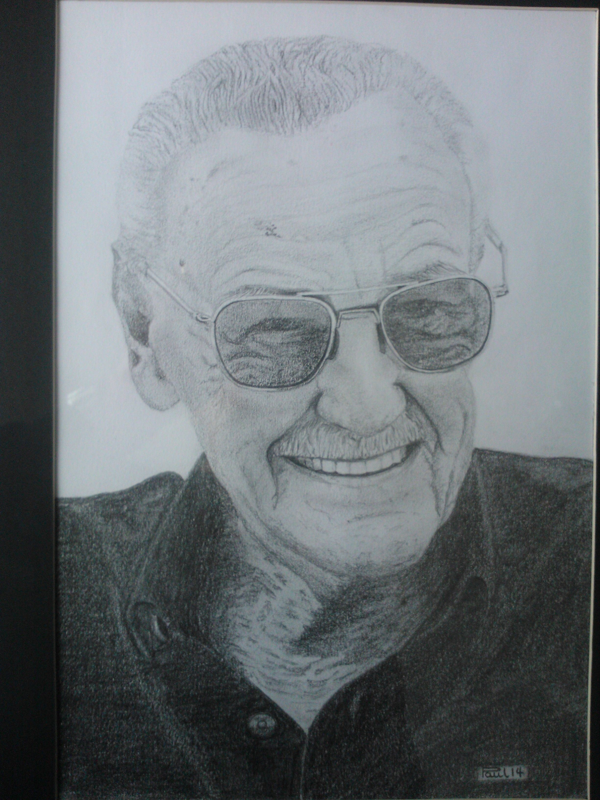 Pencil drawing of stan lee on a4 paper