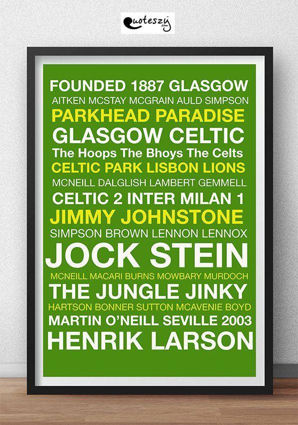 CELTIC WORD PRINT (black frame) Football Teams Word Prints - word design frames